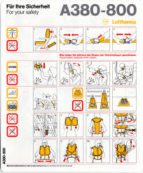 airbus si e social safety information card lufthansa german airlines airbus a380 800