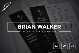 Us Resume Sample by Brian Walker A4 Us Resume Resume Templates Creative Market