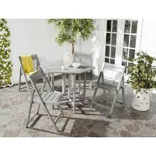 Folding Patio Furniture Dining Sets - safavieh kerman gray wash 5 piece patio dining set pat7000b the