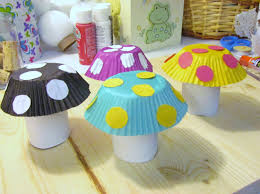 how to make a mushroom from toilet paper tube u0026 cupcake liner