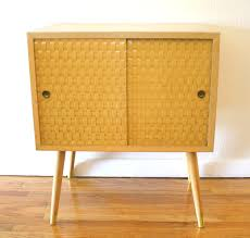 barn door side table mid century modern side table with basket weave doors picked vintage