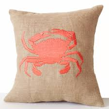 sea pillow embroidered crab pillow cover by amorebeaute on zibbet