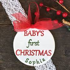 First Christmas Personalized Ornaments - baby u0027s first christmas personalized ornament by say your piece