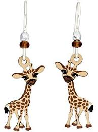 giraffe earrings uisex front back 3d giraffe animal pierced ear studs