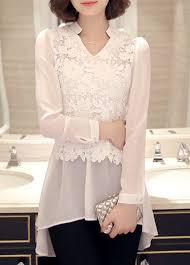 sleeve lace blouse asymmetric hem sleeve lace panel white blouse rosewe com