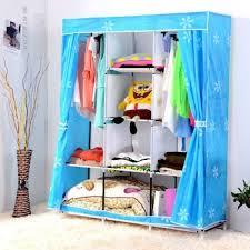 sky blue wardrobe clothes rack shelves foldable fabric closet