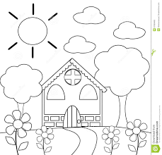 coloring the house in black and white royalty free stock photo