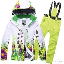 women flower ski jacket pants super warm thicken thermal snowboard