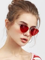 oval shaped flat lens sunglasses shein sheinside
