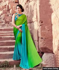 green colour new designer moss silk plain saree with embroidery blouse
