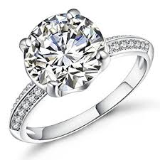cubic zirconia white gold engagement rings vibrille white gold plated sterling silver 4 carat