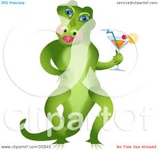 green cocktail black background clipart illustration of red blue green and yellow alligators on