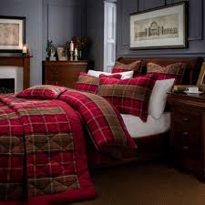 dorma lomond red brushed cotton duvet cover and pillowcase set