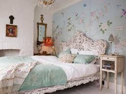 bedroom charming wallpaper and romantic headboard design also