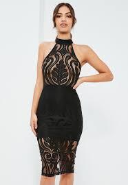 sleeveless dress black lace high neck sleeveless midi dress missguided