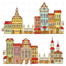cartoon city templates with colorful houses vector image 29211