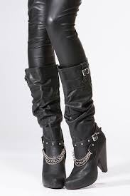 womens boots the knee qupid black chain knee high boot cicihot boots catalog s