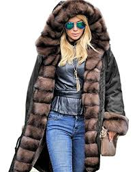 roiii frauen luxus winter lange warme starke parka brown cafe faux - Designer Winterjacken