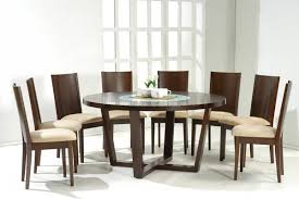 8 Chairs Dining Set Modern Round Dining Table For 8 With Foamy Seats Decofurnish