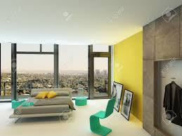 spacious colorful bedroom interior with yellow wall accents