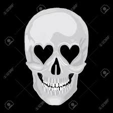 halloween love background human skull with heart love eyes for valentine day vector object
