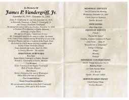 sle of funeral programs vandergriff family vandergriff jr
