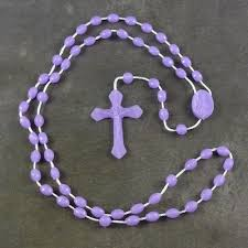 purple rosary plastic basic oval rosary 42cm length