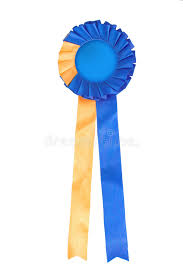 blue and yellow ribbon blue and yellow ribbon rosette royalty free stock photography