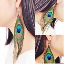 peacock feather earrings s peacock feather earrings ebay