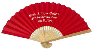 personalized front print paper fans palm and bamboo