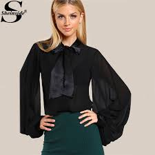 black sheer blouse sheinside black chiffon blouses sleeve bow tie neck