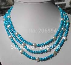 blue pearl necklace images New arrive design baroque 3 rows 5 6mm blue pearl white pearl jpg