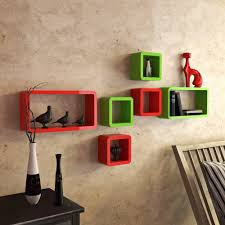 cube rectangle display wall rack online red and green