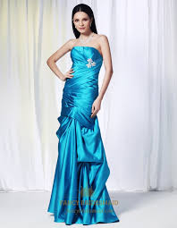 aqua blue mermaid prom dresses strapless satin ballgown with pick