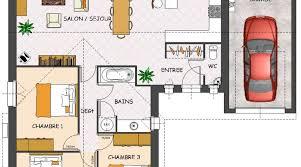 maison 3 chambres plain pied plan de maison plein pied 3 chambres avec garage plan de maison