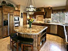 wooden island with storage brown granite countertop backless bar