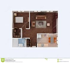 home floor plan housing project 3d blueprint stock illustration