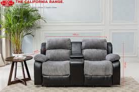 new luxury california 2 seat jumbo cord faux leather recliner sofa