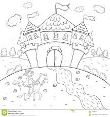 coloring book knight on horseback and magic castle design for kids