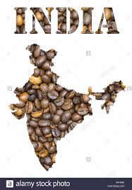 Blank Map Of The Word by Roasted Brown Coffee Beans Background With The Shape Of The Word
