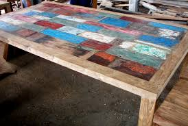 how to make a dining table from an old door reclaimed teak boatwood a gorgeous boat wood table with many colours