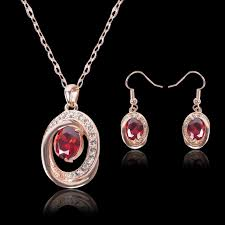 earring necklace set images Ruby red stone jewelry set australia crystal charm red cz jpg