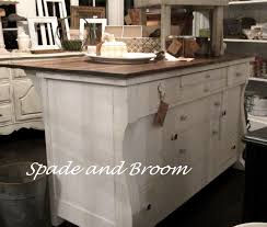 up cycled antique buffet to great kitchen island spade and broom