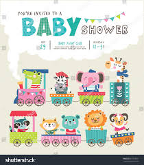 Babyshower Invitation Card Baby Shower Invitation Card Cute Animals Stock Vector 417555031