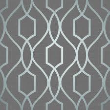 fine decor apex geometric trellis wallpaper stone grey silver