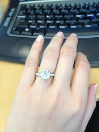2 carat cushion cut engagement ring post your cushions split shank solitaire halo pictures