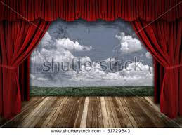 Deep Red Velvet Curtains Old Fashioned Elegant Theater Stage Gold Stock Photo 2454214