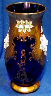 Crystal Vase Value Vases Sale Moser Clear To Red Enameled Glass Vase With Pansies And Ruffled