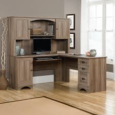 sauder desk with hutch sauder harbor view l shaped computer desk with optional hutch