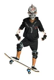 Kids Zombie Costume Dead City Skater Boy Mask Kids Fancy Dress Halloween Skeleton